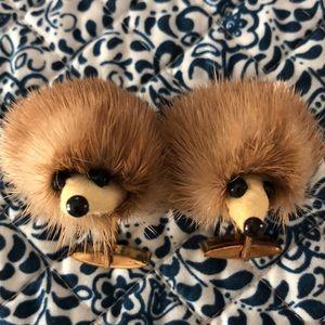 RARE Mid century genuine mink fur Hedgehog cuff links